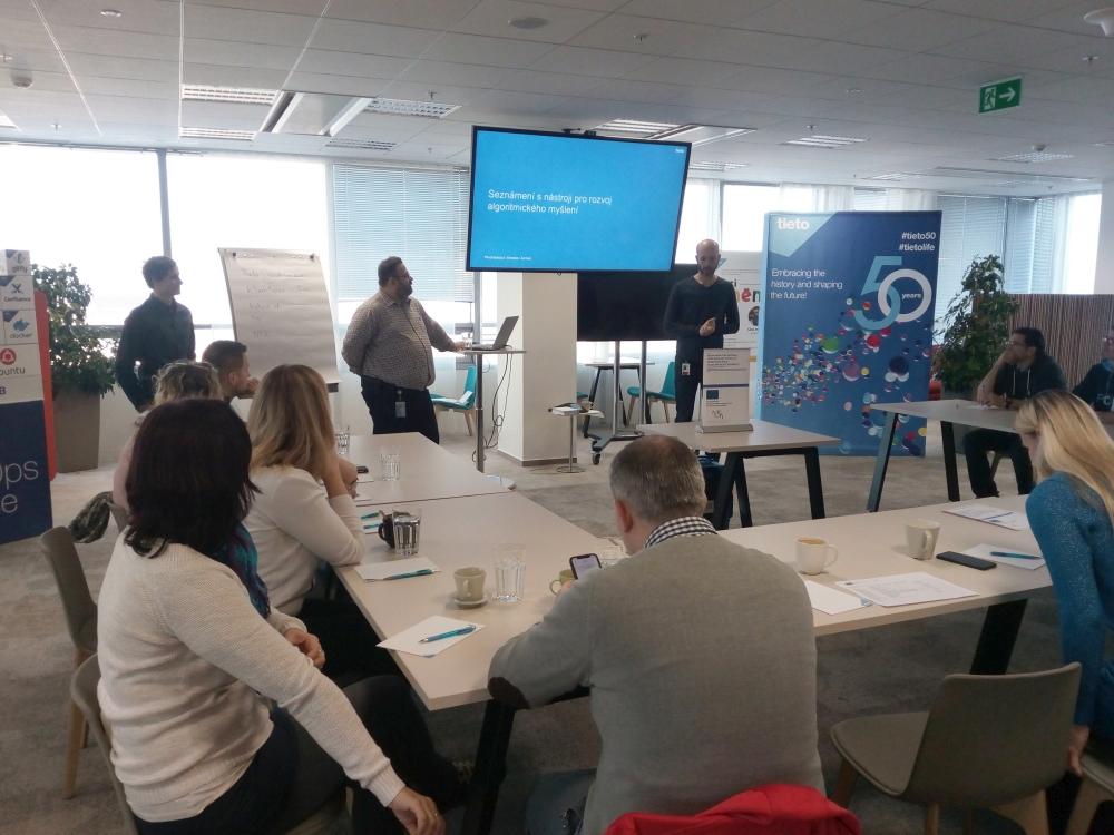 Workshop Rozvoj algoritmického myšlení konaný ve spolupráci se společnosti Tieto 29.11.2018